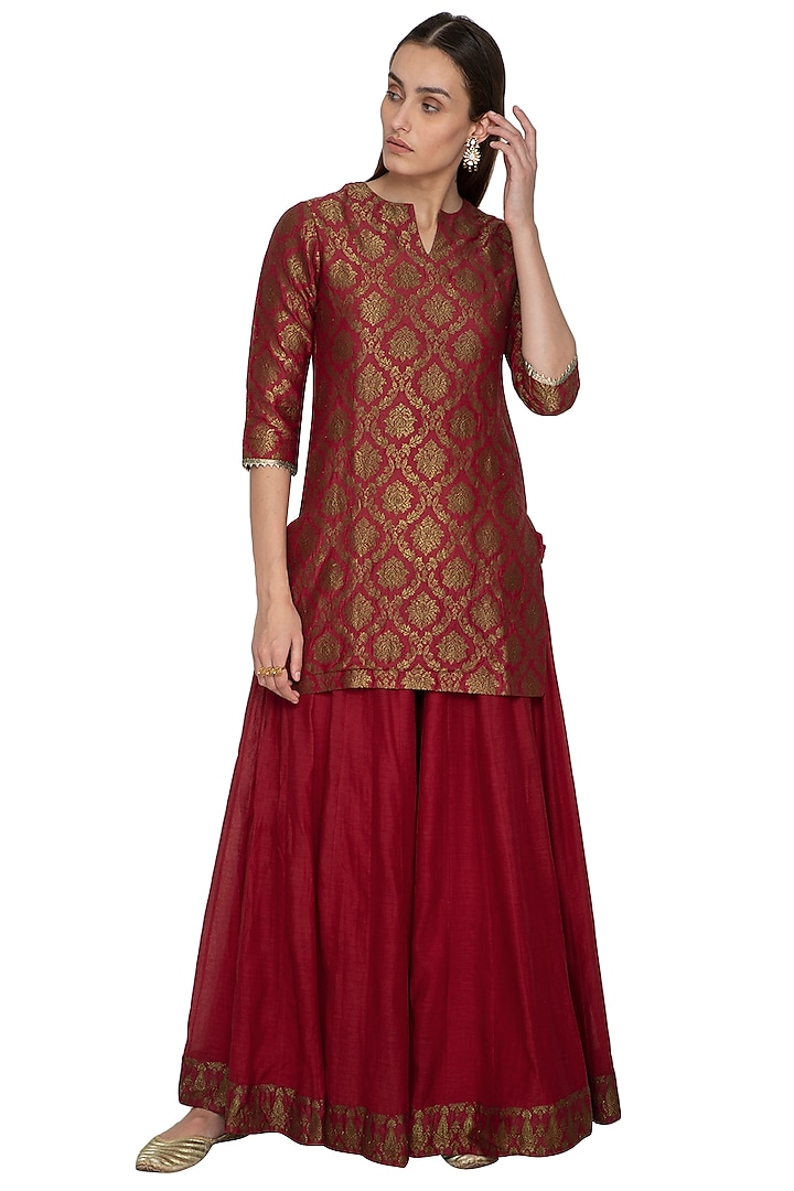 Red Embroidered Chanderi Kurta With Sharara Pants by Vishwa by Pinki Sinha