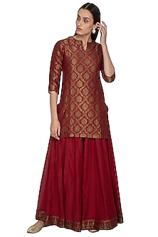 Red Embroidered Chanderi Kurta With Sharara Pants by Vishwa by Pinki Sinha