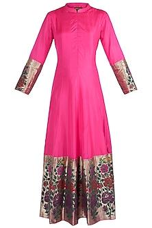 Pink Rose Paithani Anarkali Gown by Vishwa By Pinki Sinha