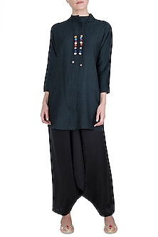 Black Muga Silk Kurta with Dhoti Pants by Vishwa By Pinki Sinha