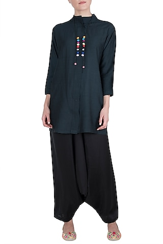 Black Muga Silk Kurta with Dhoti Pants by Vishwa By Pinki Sinha