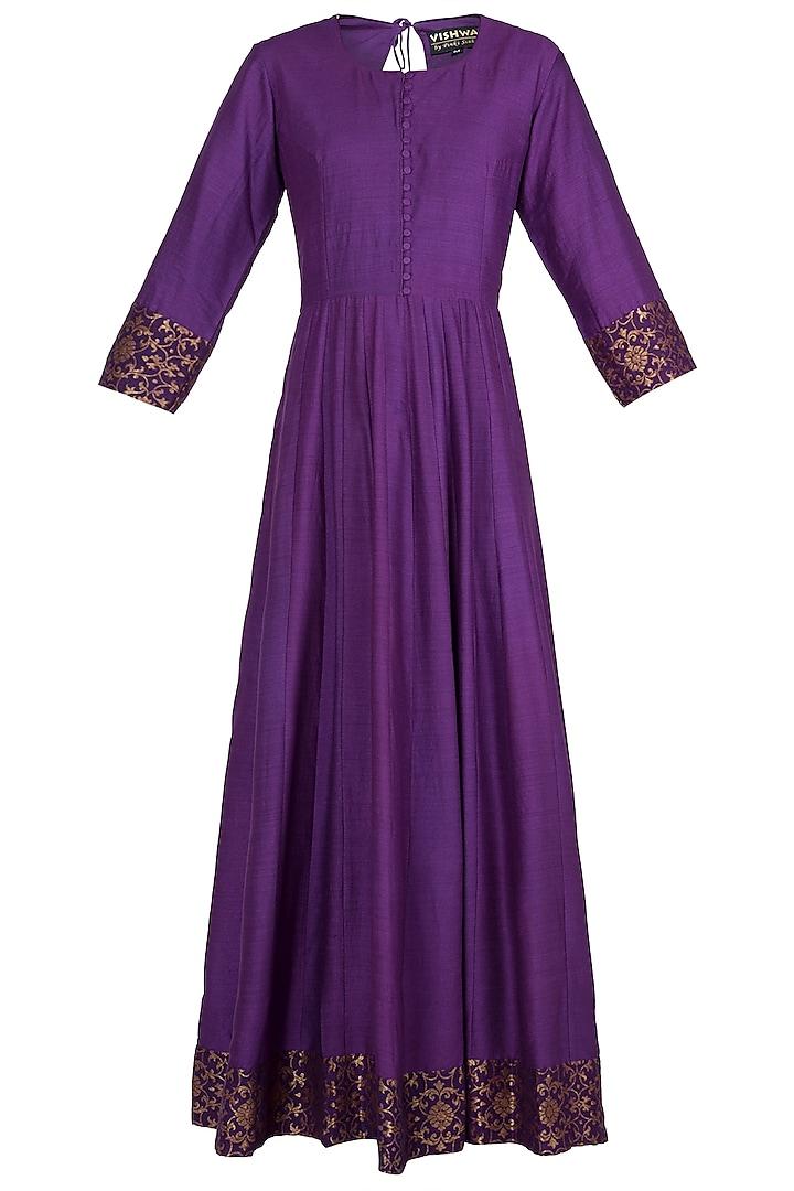 Violet Handwoven Banarasi Anarkali Gown by Vishwa By Pinki Sinha