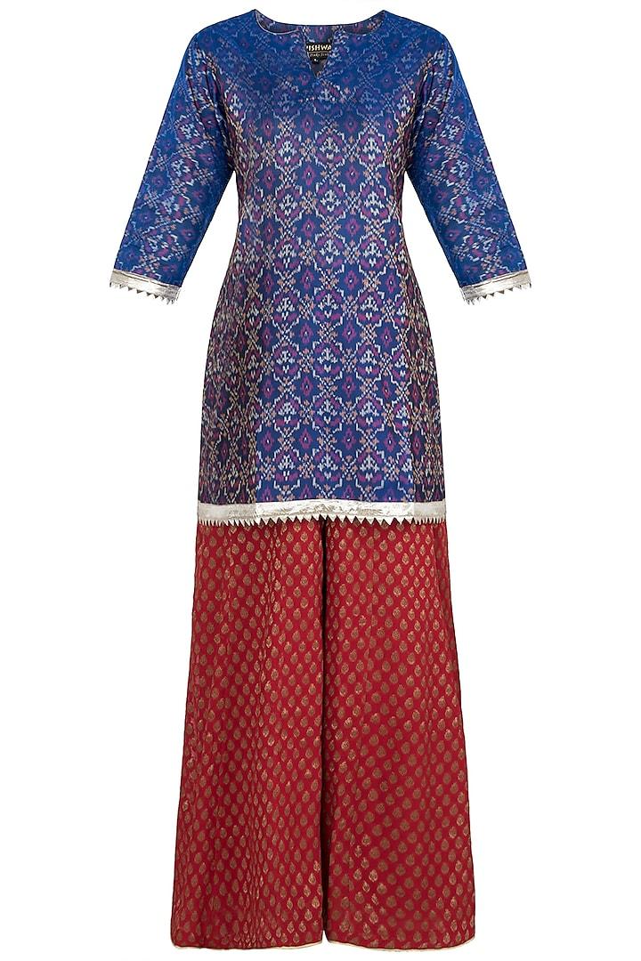 Red Ikkat Silk Kurta with Sharara Pants by Vishwa By Pinki Sinha