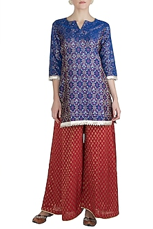 Red Ikkat Silk Kurta with Sharara Pants by Vishwa By Pinki Sinha