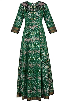 Green Handwoven Ikkat Anarkali Gown by Vishwa By Pinki Sinha