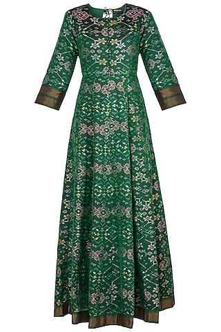 Green Handwoven Ikkat Anarkali Gown by Vishwa By Pinki Sinha