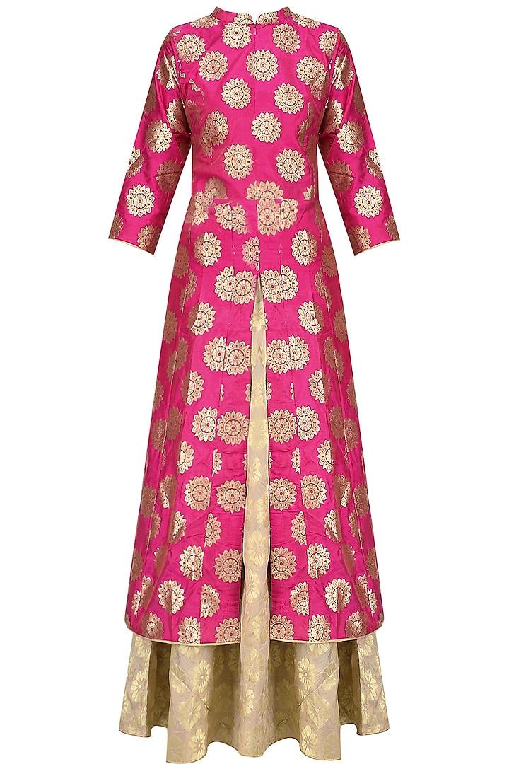 Pink Brocade Kali Kurta and Banarsi Skirt Set by Vishwa by Pinki Sinha