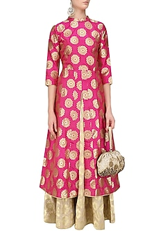 Pink Brocade Kali Kurta and Banarsi Skirt Set by Vishwa by Pinki Sinha