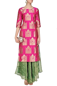 Pink Brocade Tajmahal Kurta and Tissue Skirt Set by Vishwa by Pinki Sinha