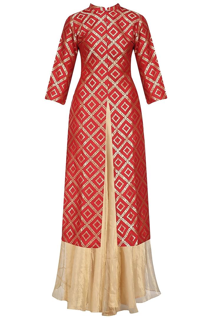 Red Brocade Kurta Jacket and Tissue Skirt Set by Vishwa by Pinki Sinha