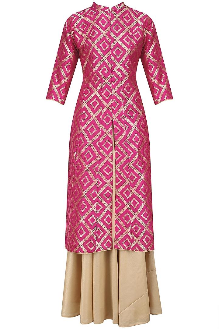 Pink Brocade Kali Kurta and Gold Skirt Set by Vishwa by Pinki Sinha