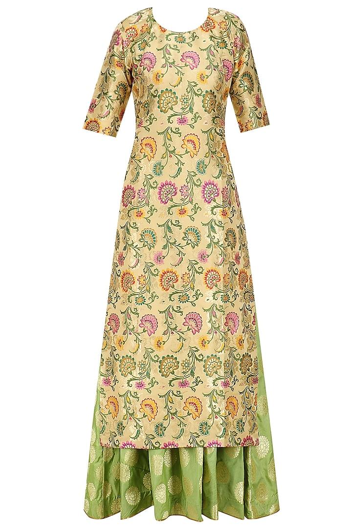 Beige Khim Khaab Kurta and Banarsi Skirt Set by Vishwa by Pinki Sinha