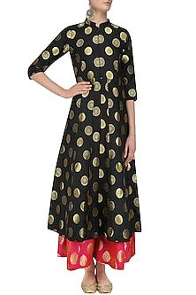 Black Brocade Kali Kurta and Palazzo Pants Set by Vishwa by Pinki Sinha