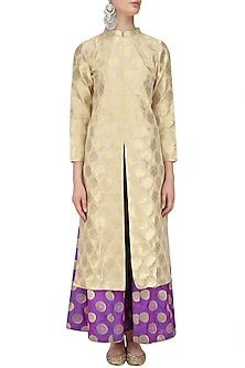 Beige Brocade Kurta Jacket and Sharara Pants Set by Vishwa by Pinki Sinha