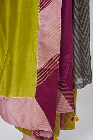 Lime Green Hand Blocked Dupatta by Charcoal by vineet rahul