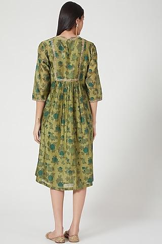 Green Chanderi Printed Dress by Charcoal by vineet rahul