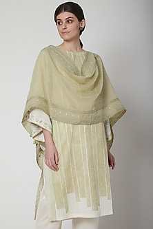 Mint Green Embroidered Scarf by Vineet Rahul