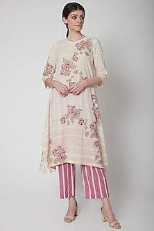 White Floral Print Asymmetric Kurta by Vineet Rahul