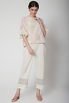 White Embroidered Straight Fit Pant by Vineet Rahul