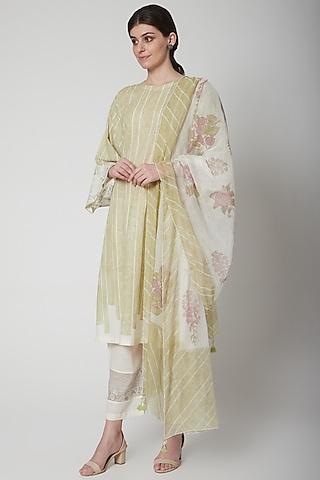 White Floral Printed & Chikankari Dupatta by Vineet Rahul