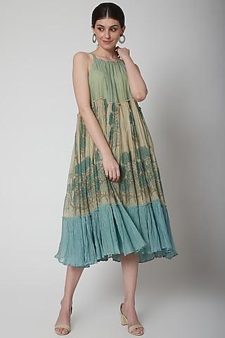 Mint Green Block Printed Tiered Dress by Vineet Rahul