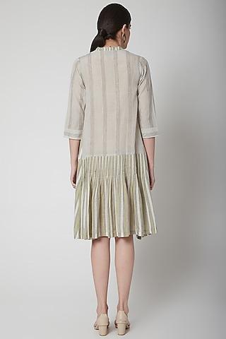 White Pleated & Striped Dress by Vineet Rahul