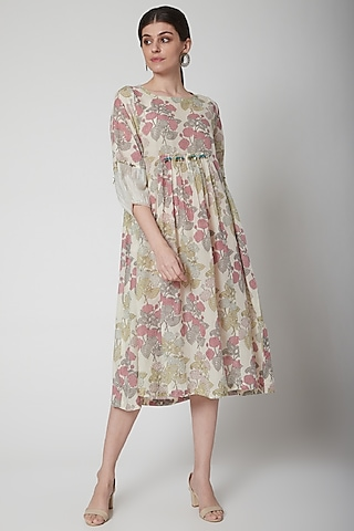 White Block Printed & Gathered Dress by Vineet Rahul
