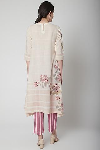 Blush Pink Printed Striped Pants by Vineet Rahul