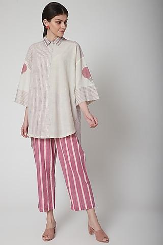 White Hand Block Printed Shirt by Vineet Rahul