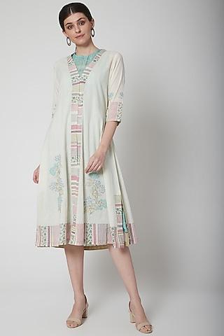 White Printed & Layered Kurta Dress by Vineet Rahul