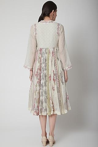 White Printed Kurta Dress by Vineet Rahul