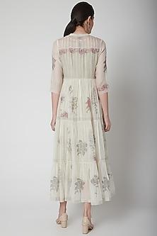 White Printed Tiered Dress With Slip by Vineet Rahul