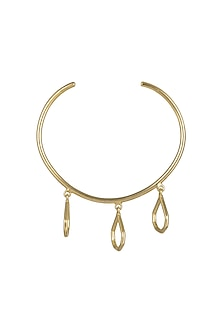 Gold Plated Handcrafted Bangle With Hangings by Varnika Arora