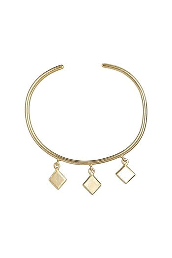 Gold Plated Bangle With Hangings by Varnika Arora