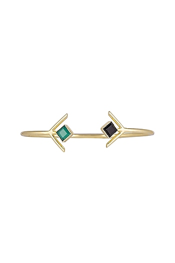Gold Plated Green Onyx Bracelet by Varnika Arora