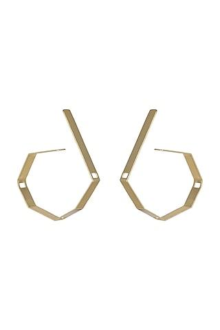 Gold Plated Handcrafted Hoop Earrings by Varnika Arora