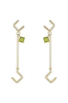 Gold Plated Handmade Peridot Earrings by Varnika Arora