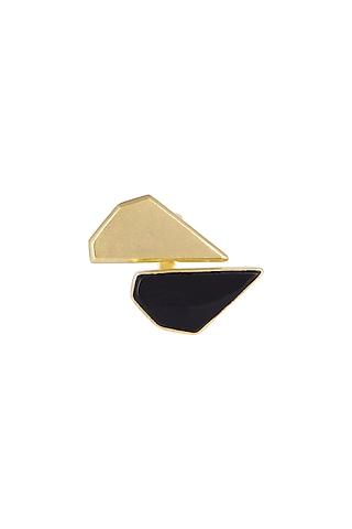 Gold Plated Black Onyx Adjustable Ring by Varnika Arora