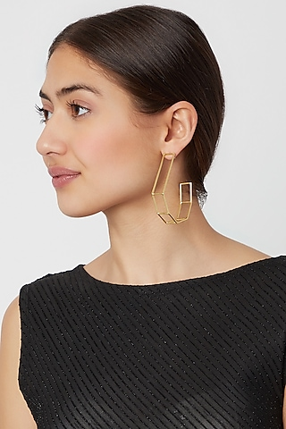 Gold Plated Big Hoop Earrings by Varnika Arora