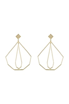 Gold Plated Geometric Earrings by Varnika Arora