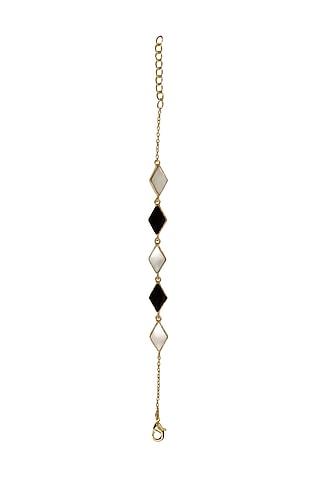 Gold Finish Onyx & Mother Of Pearl Bracelet by Varnika Arora