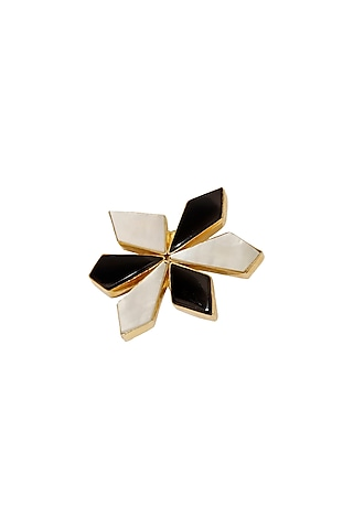 Gold Finish Black Onyx & Mother Of Pearl Brooch by Varnika Arora