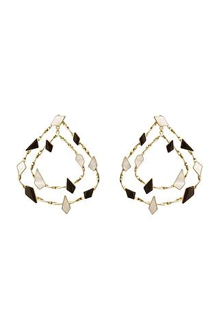 Gold Finish Black Onyx & Mother Of Pearl Hoop Earrings by Varnika Arora