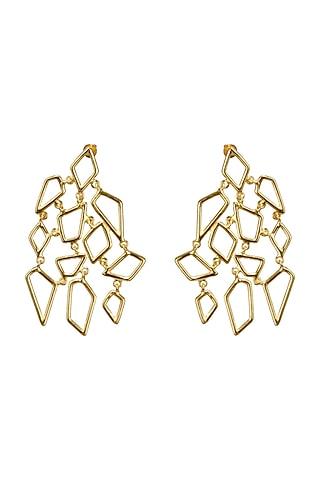 Gold Finish Customised Alloy Earrings by Varnika Arora