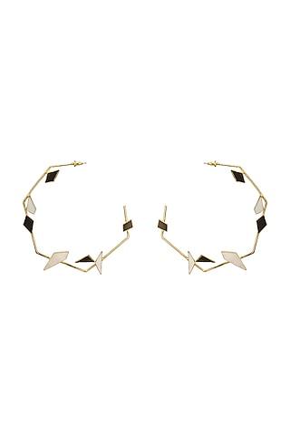 Gold Finish Black Onyx & Pearl Hoop Earrings by Varnika Arora