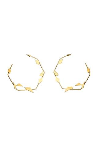 Gold Finish Alloy Hoop Earrings by Varnika Arora