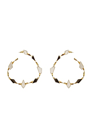 Gold Finish Onyx & Mother of Pearl Hoop Earrings by Varnika Arora