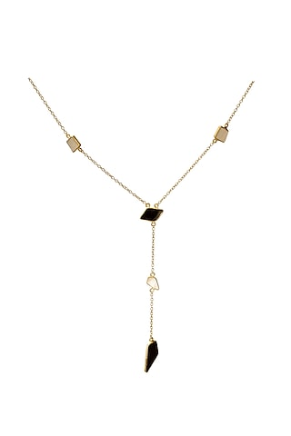 Gold Finish Onyx & Mother of Pearl Necklace by Varnika Arora