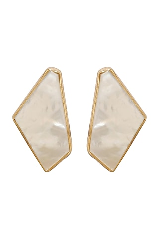 Gold Finish Onyx & Mother of Pearl Stud Earrings by Varnika Arora