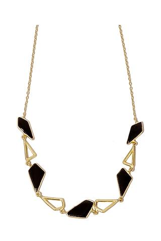 Gold Finish Black Onyx Necklace by Varnika Arora